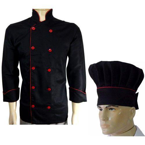 Dolma Chef De Cozinha Preto Com Vermelho + Chapéu Chef