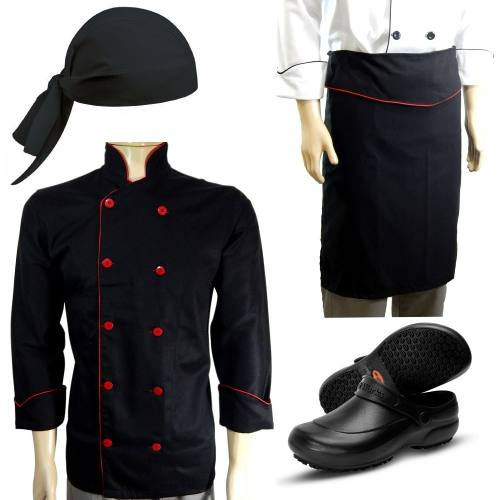 Dolma Chef + Sapato + Bandana + Avental - Kit Chef Cozinha