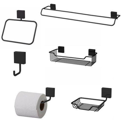 kit De Acessórios Para Banheiro 6 Peças Organizadores Preto