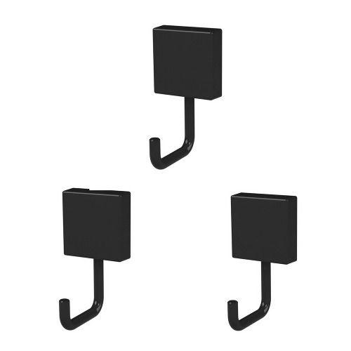 Conjunto Com 3 Ganchos Fixação Por Parafuso Preto Em Metal