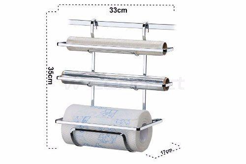 Porta Papel Toalha Aluminio Filme + Barra Para Cozinha 60cm