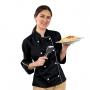 Dólmã Chef de Cozinha Feminino Preto e Branco 100% Algodão - Wp Connect