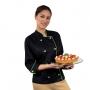 Dólmã Feminina Para Chef de Cozinha Angel Preto Com Verde - Wp Connect