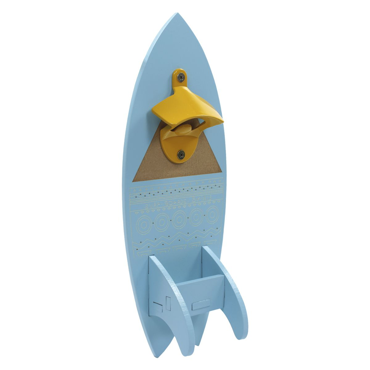Abridor de Garrafas de Parede Surf Com Porta Tampinhas Decorativo