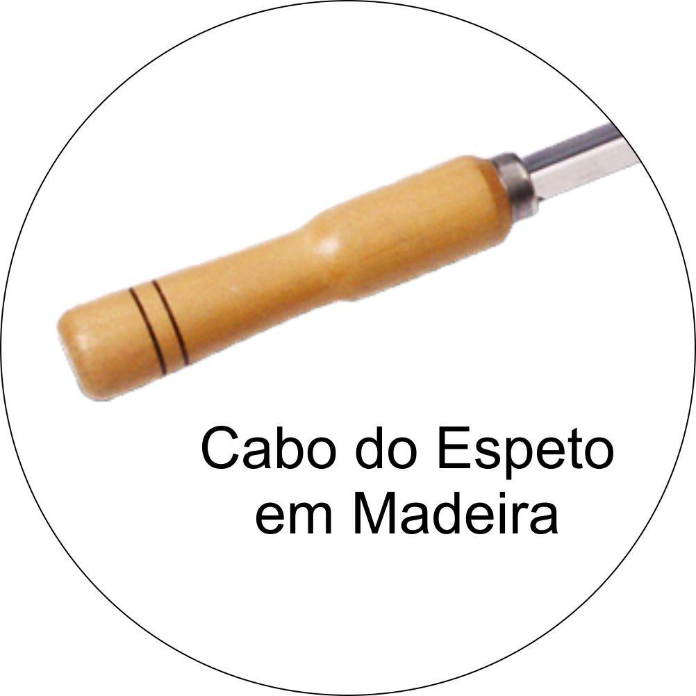 Kit 40 Espetos 70cm Cabo de Madeira Lamina Aço Inox