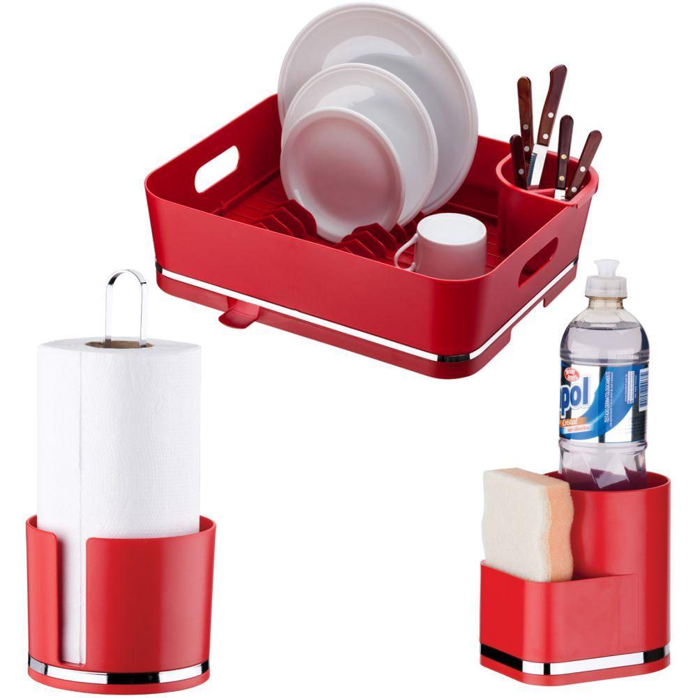 Acessórios Cozinha Escorredor de Louças Porta Detergente Papel Toalha