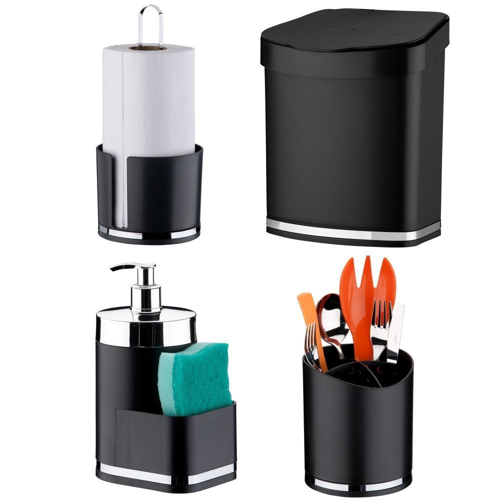 Acessórios de Cozinha Kit C/ 4 Peças Lixeira Dispenser