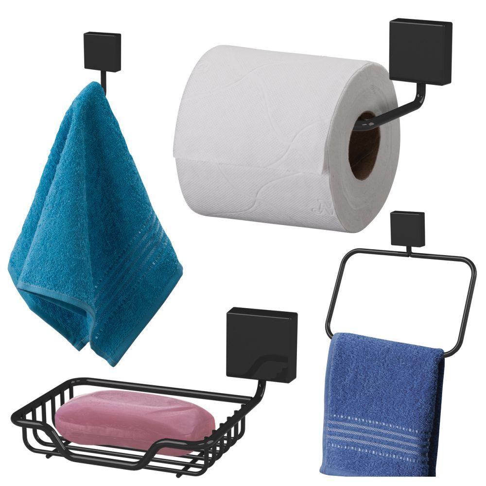 Acessórios Future Para Banheiro 4 Peças Aço Cor Preta