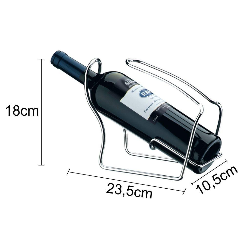 Adega de Mesa Suporte Porta Garrafa De Vinho - Aço Cromado
