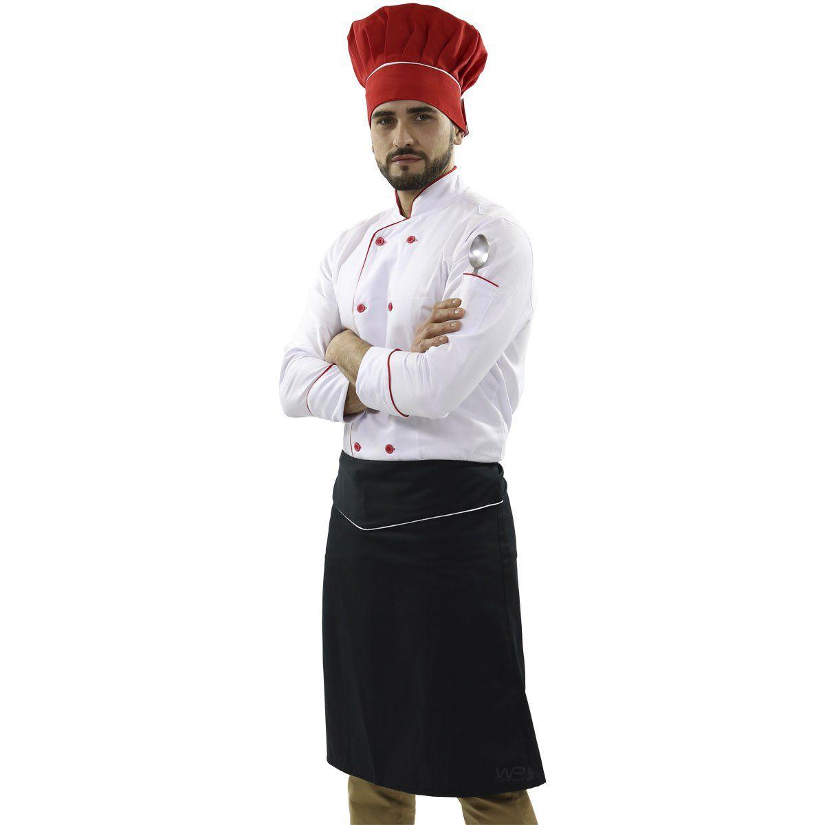 Avental Chef de Cozinha Confeiteiro Preto/Branco - Wp Connect