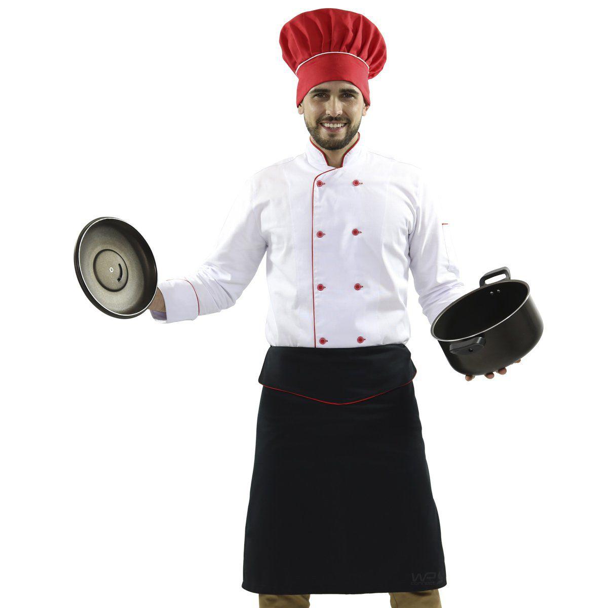 Avental Chef de cozinha Tipo Saia - Preto/ Vermelho