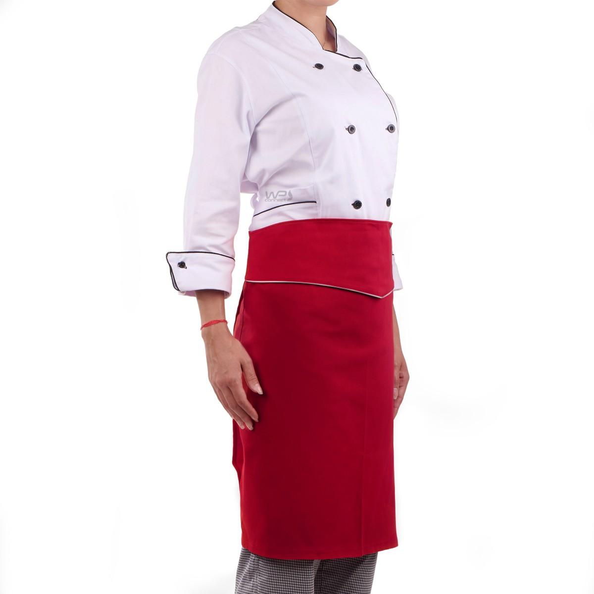 Avental Chef de Cozinha Tipo Saia Vermelho e Branco