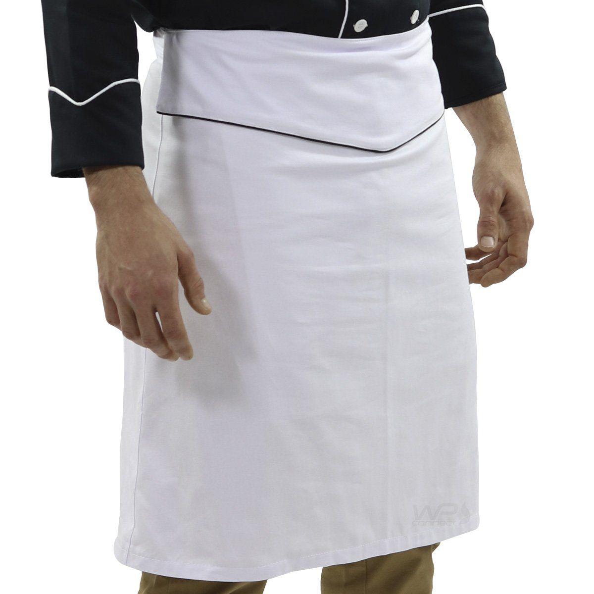 Avental Chef de cozinha Tradicional Branco/Preto