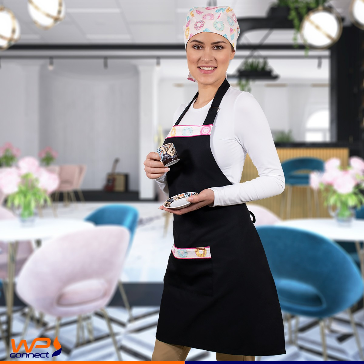 Avental de Cozinha Bandana Chef Barista Estampa Cupcake