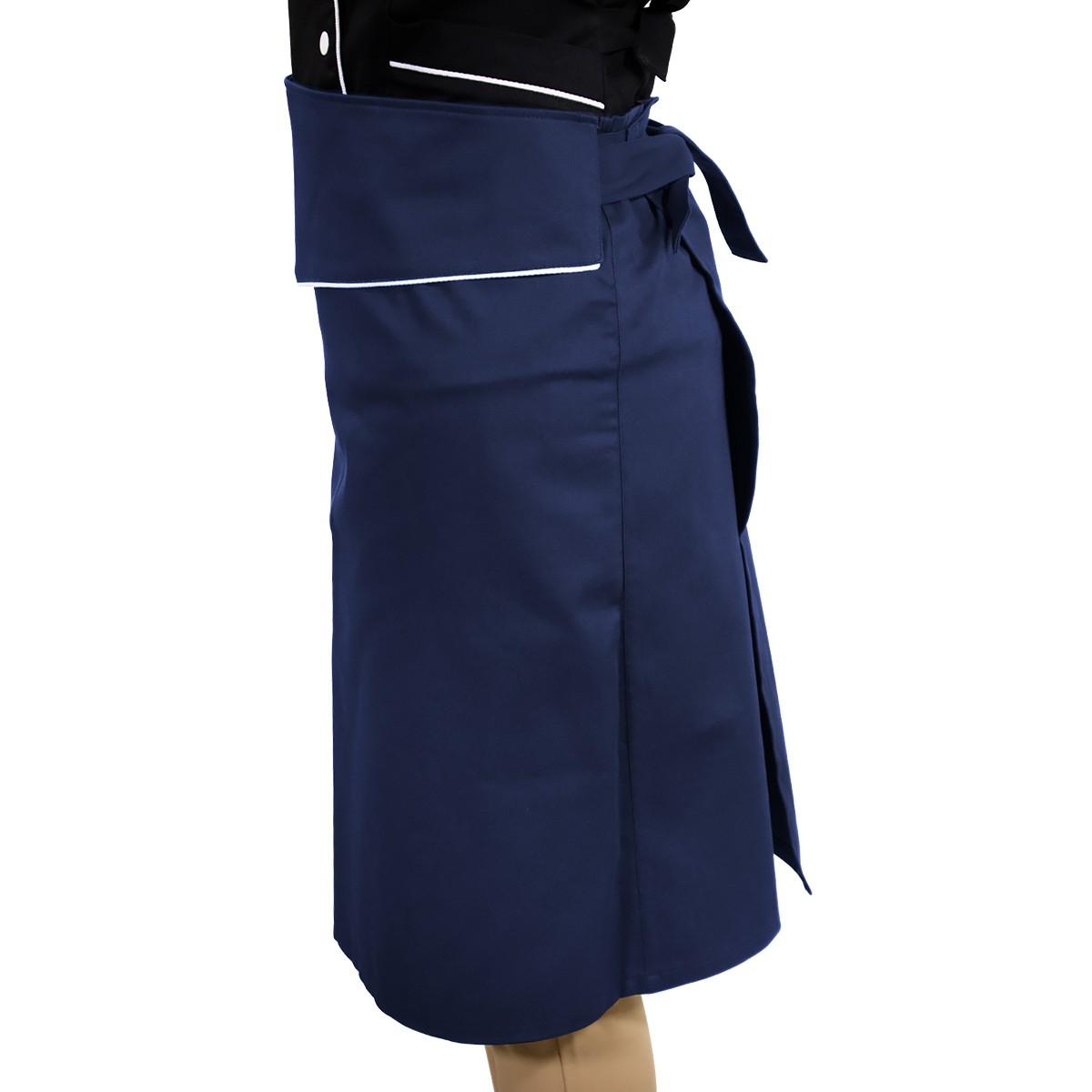 Avental de Cintura Tipo Saia Chef de Cozinha Azul Blueberry