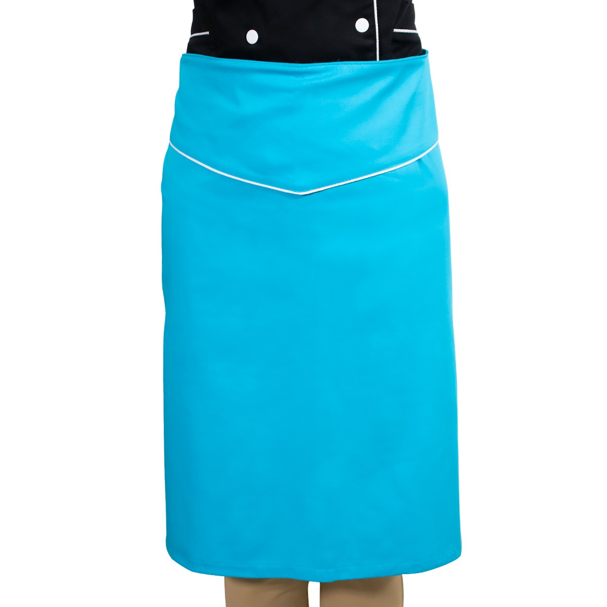 Avental de Cintura Azul Caribe Chef de Cozinha 100% Algodão