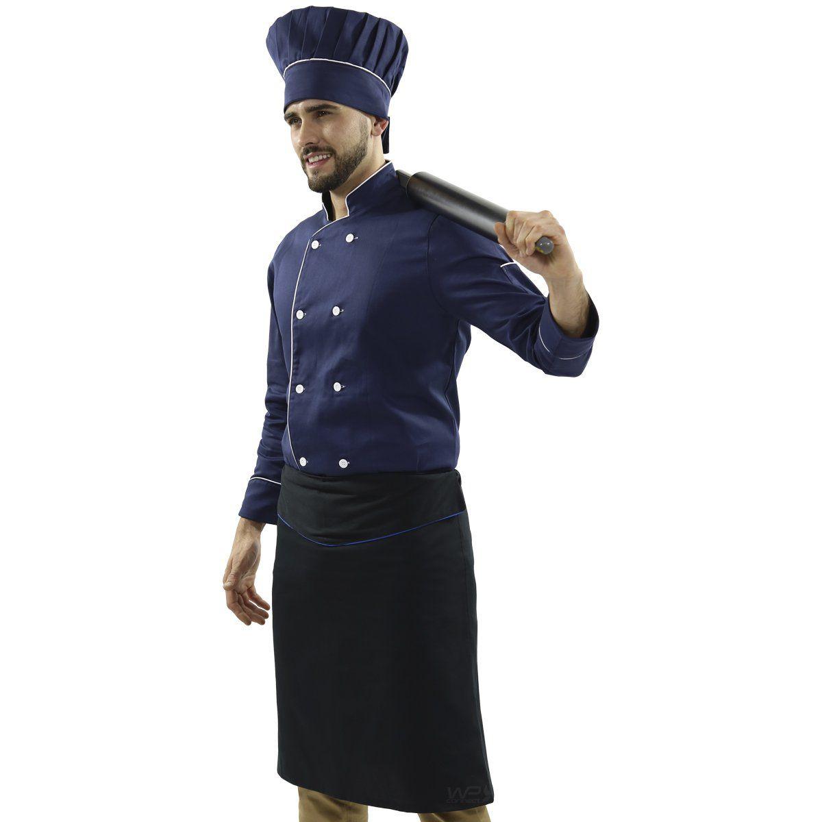 Avental de Cintura Chef Cozinha Tipo Saia - Preto/Azul