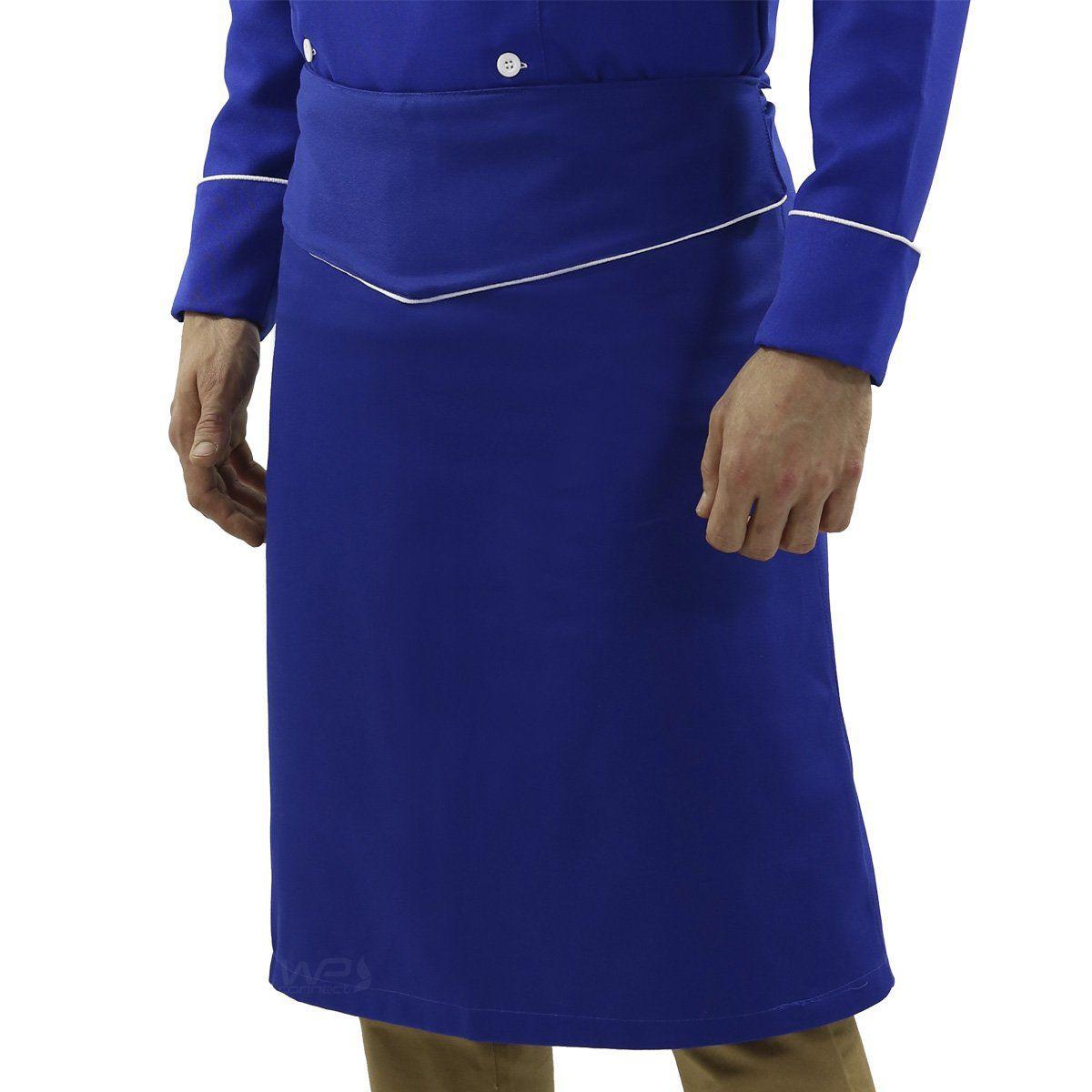 Avental de Cintura Tipo Saia Chef Cozinheiro Confeiteiro Azul/Branco