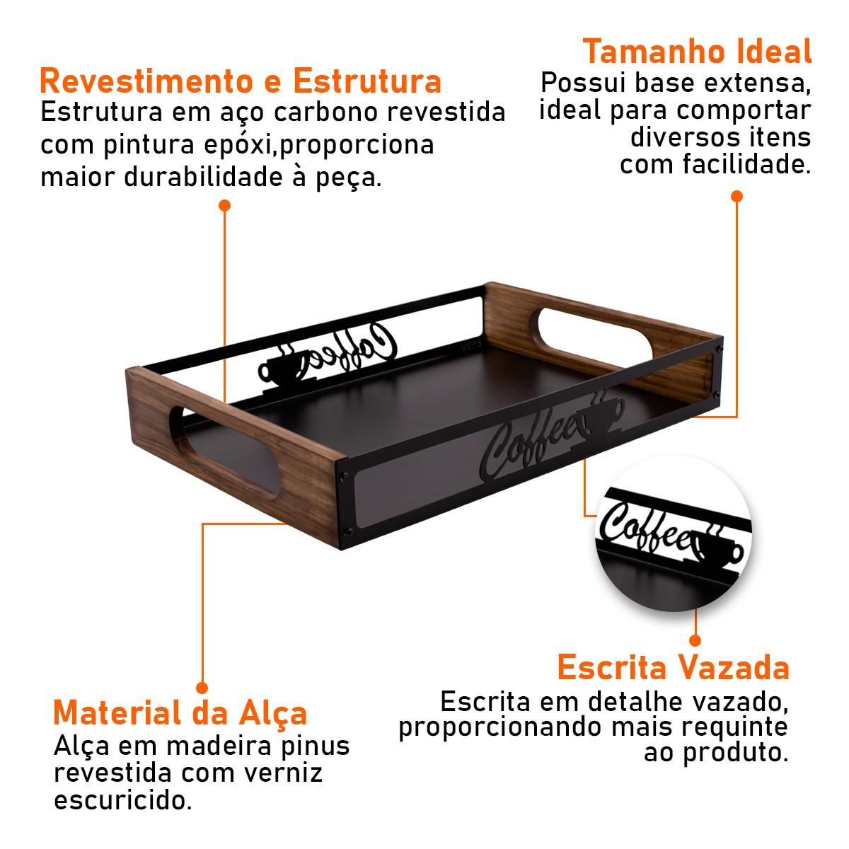 Bandeja Coffee Para Servir Café da Manhã