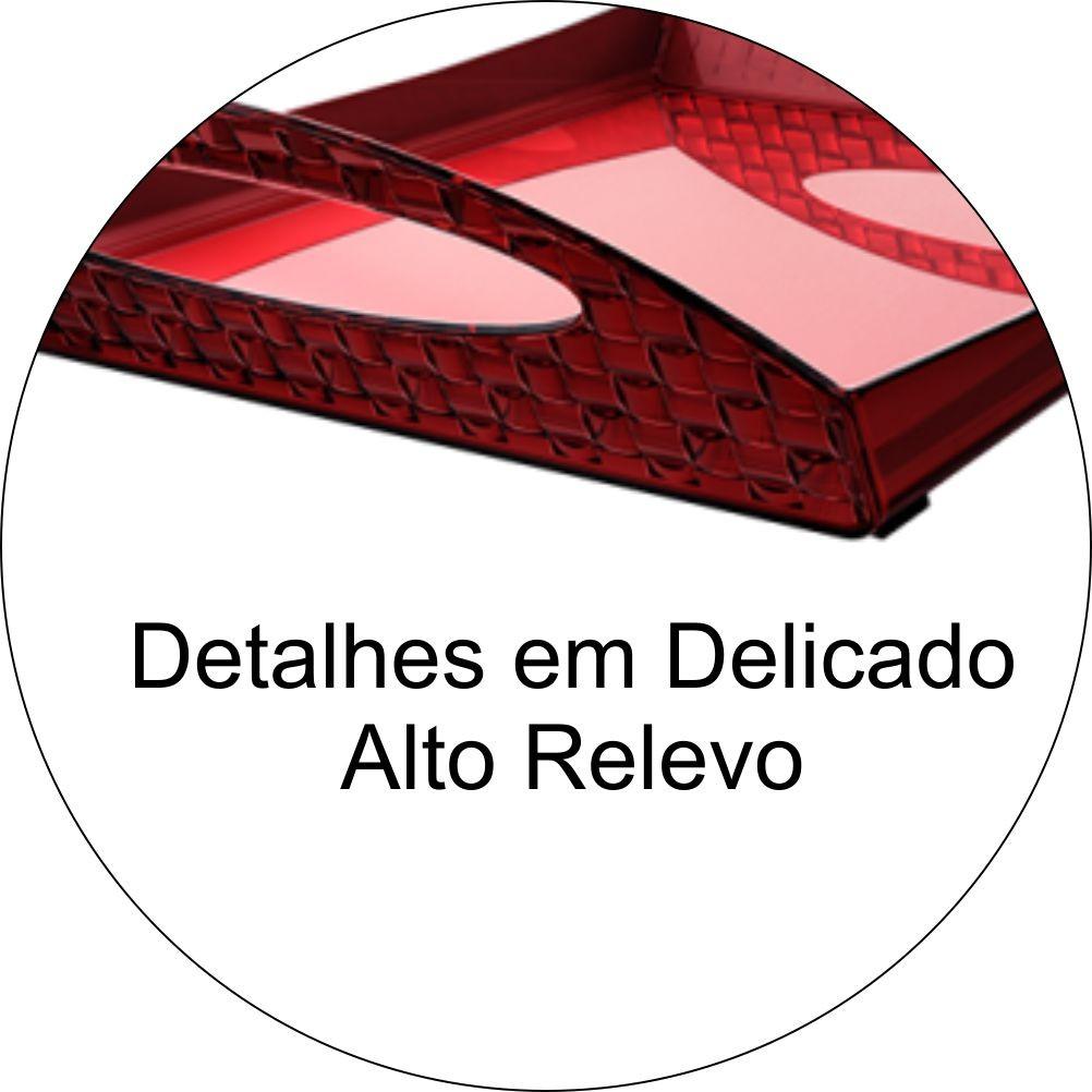 Bandeja Café Da Manhã Com Alças  Detalhes Alto Relevo - Vermelho