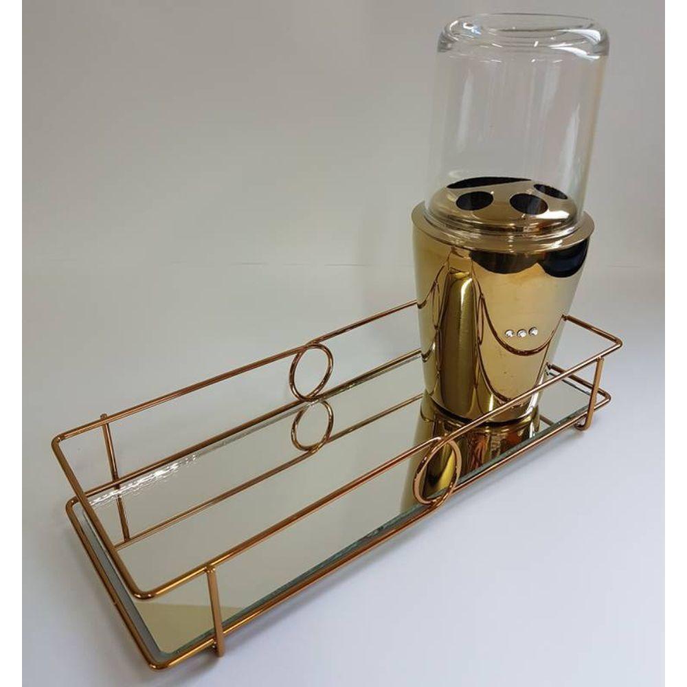 Bandeja Espelhada Bebidas Copos Enfeite Decorativa Luxo