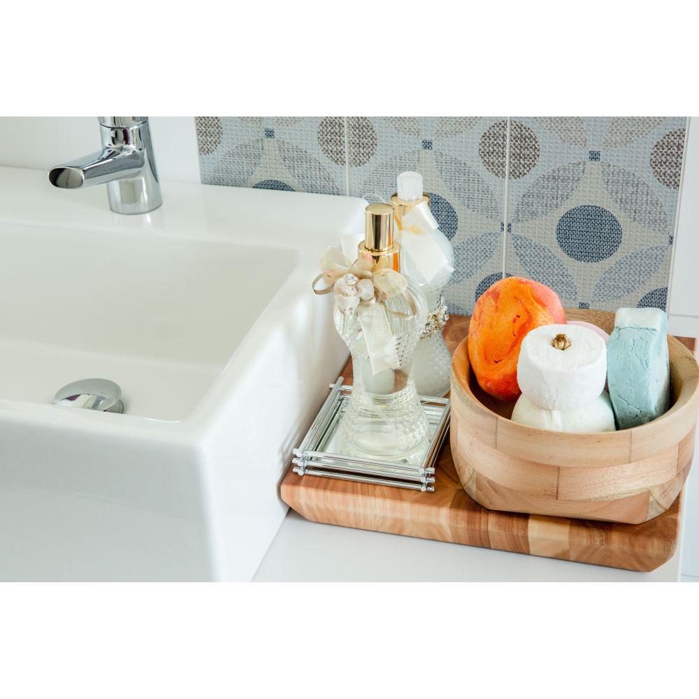 Bandeja Espelhada Porta Jóias Banheiro Luxo 10x10cm