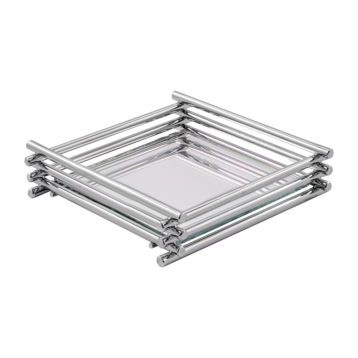 Bandeja Espelhada Wire 10x10cm Cromada - Hara