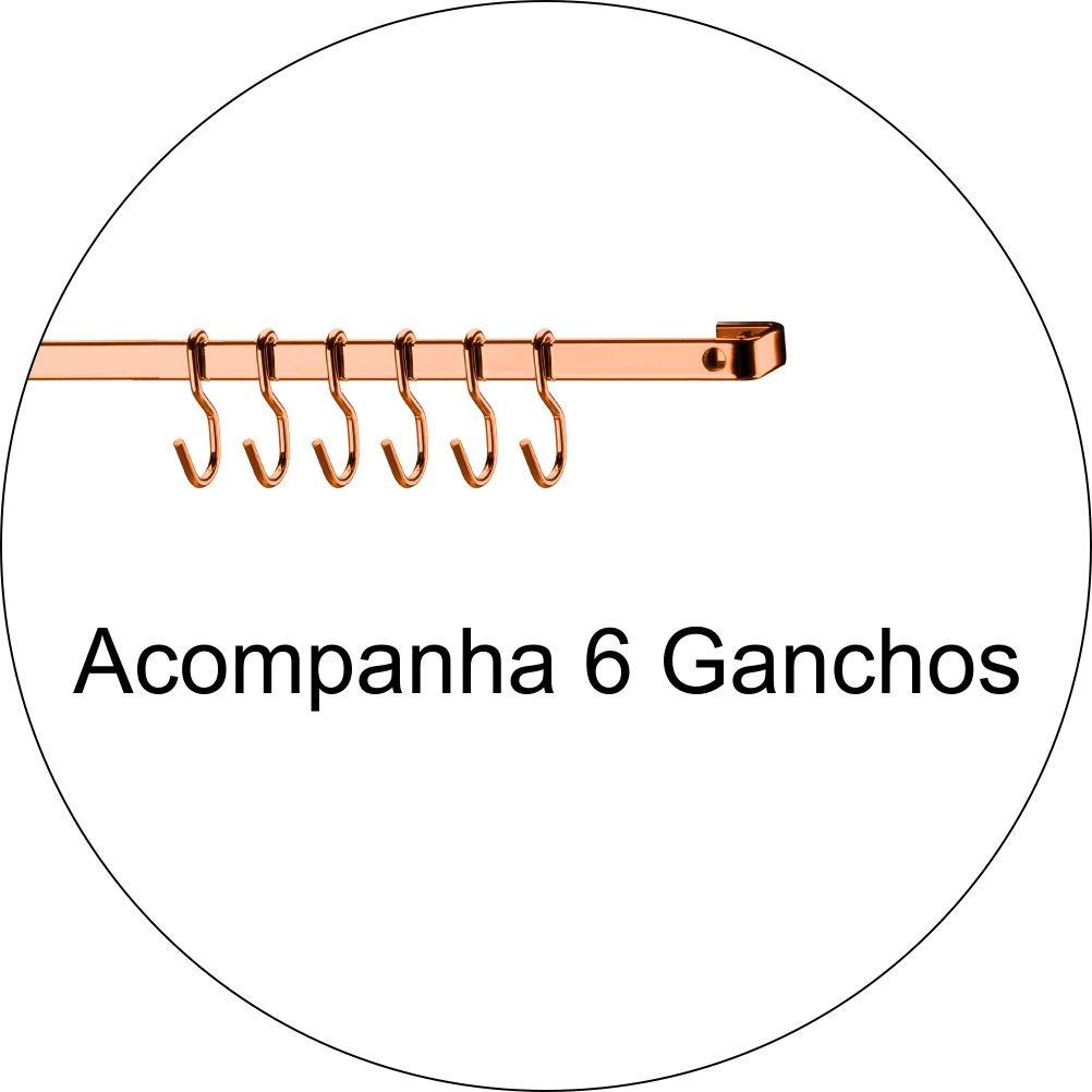 Barra Piatina de 30cm Com 6 Ganchos Multiuso - Cobre