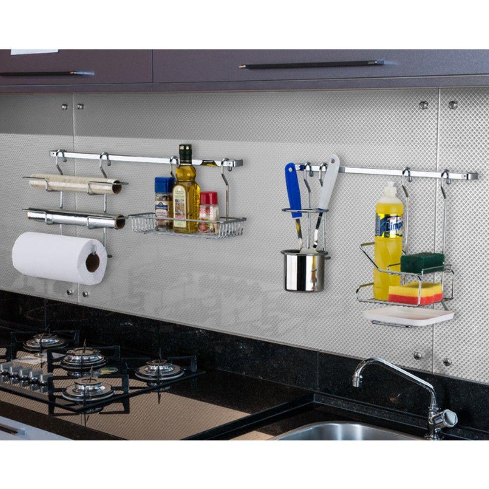 Barra Para Cozinha 80cm Com 6 Ganchos Porta Utensílios