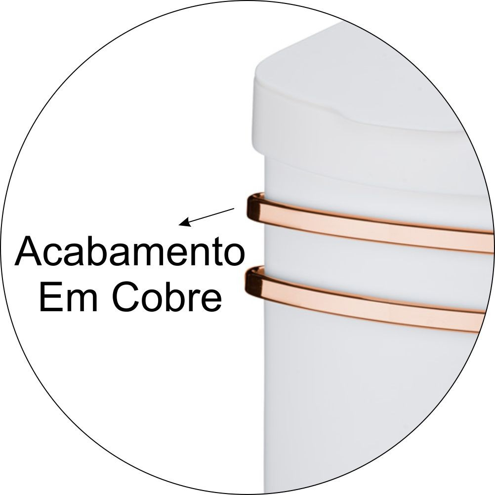 Kit Cook Home Suspenso Lixeira + Prateleira Dupla com Barra 45cm Cobre