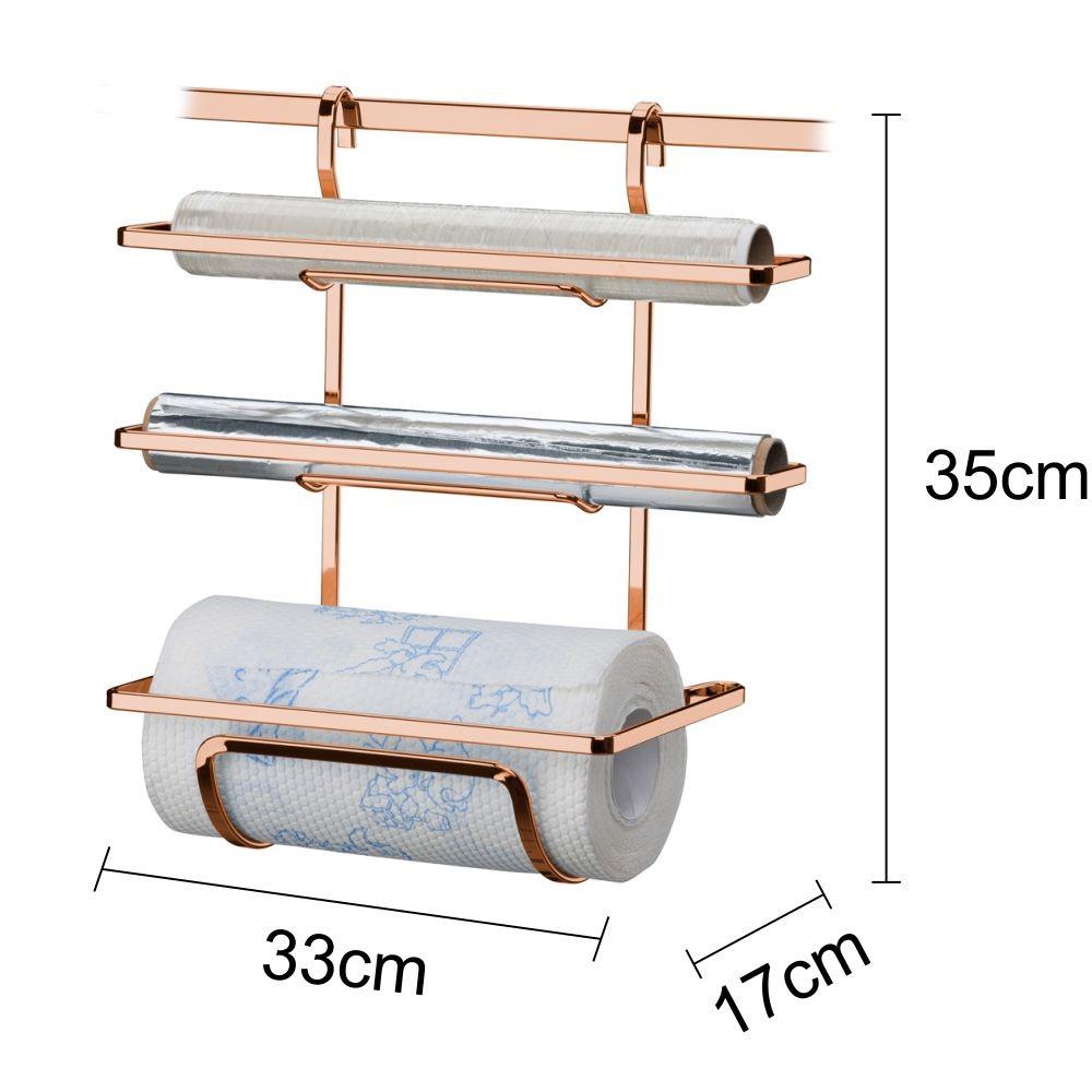 Porta Rolos Cozinha + Lixeira Branca 2,5 L + Barras 30 e 45cm Cobre