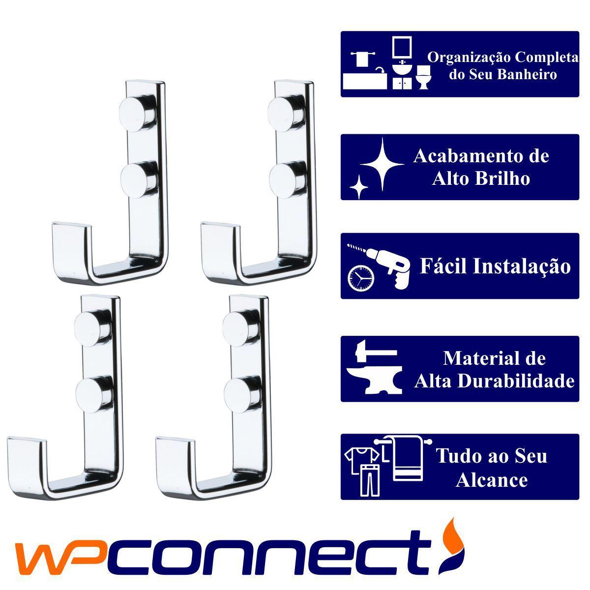 Cabide Para Roupas Toalhas Multiuso Kit 4 Peças - Cromado