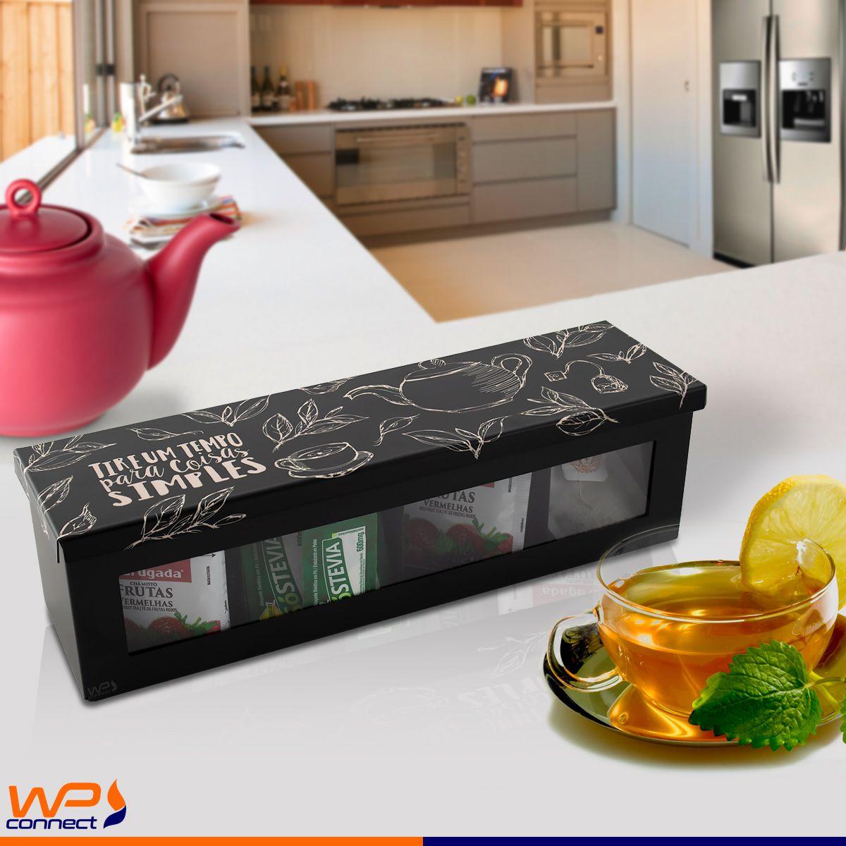 Caixa Organizadora Sachês de Chá com Divisórias Bancada