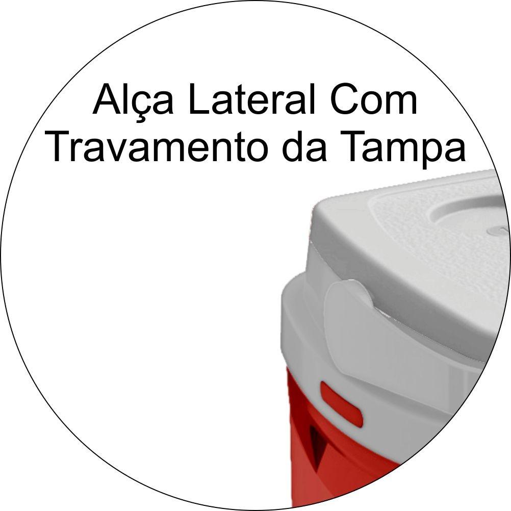 Caixa Térmica Tropical 12 Litros Porta Copos Numerado e Alça- Vermelha