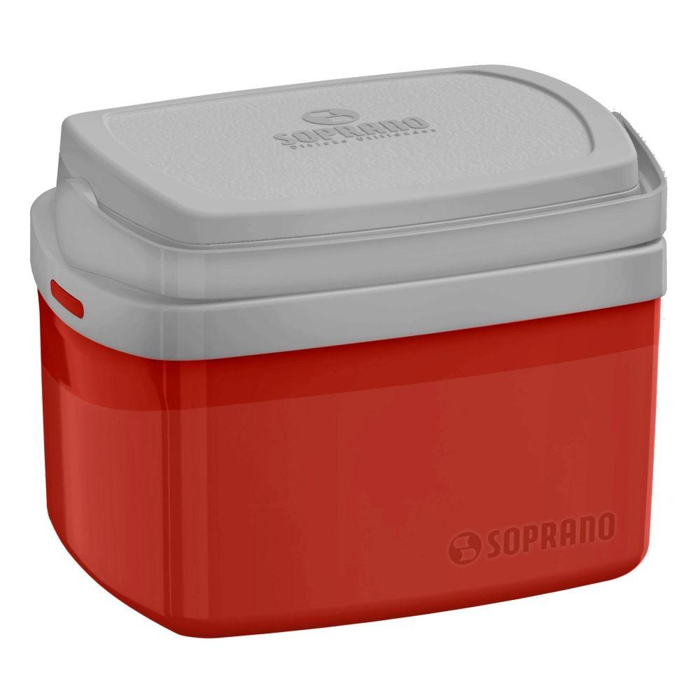 Caixa Térmica Tropical 5 Litros Com Alça Para Viagem - Vermelha