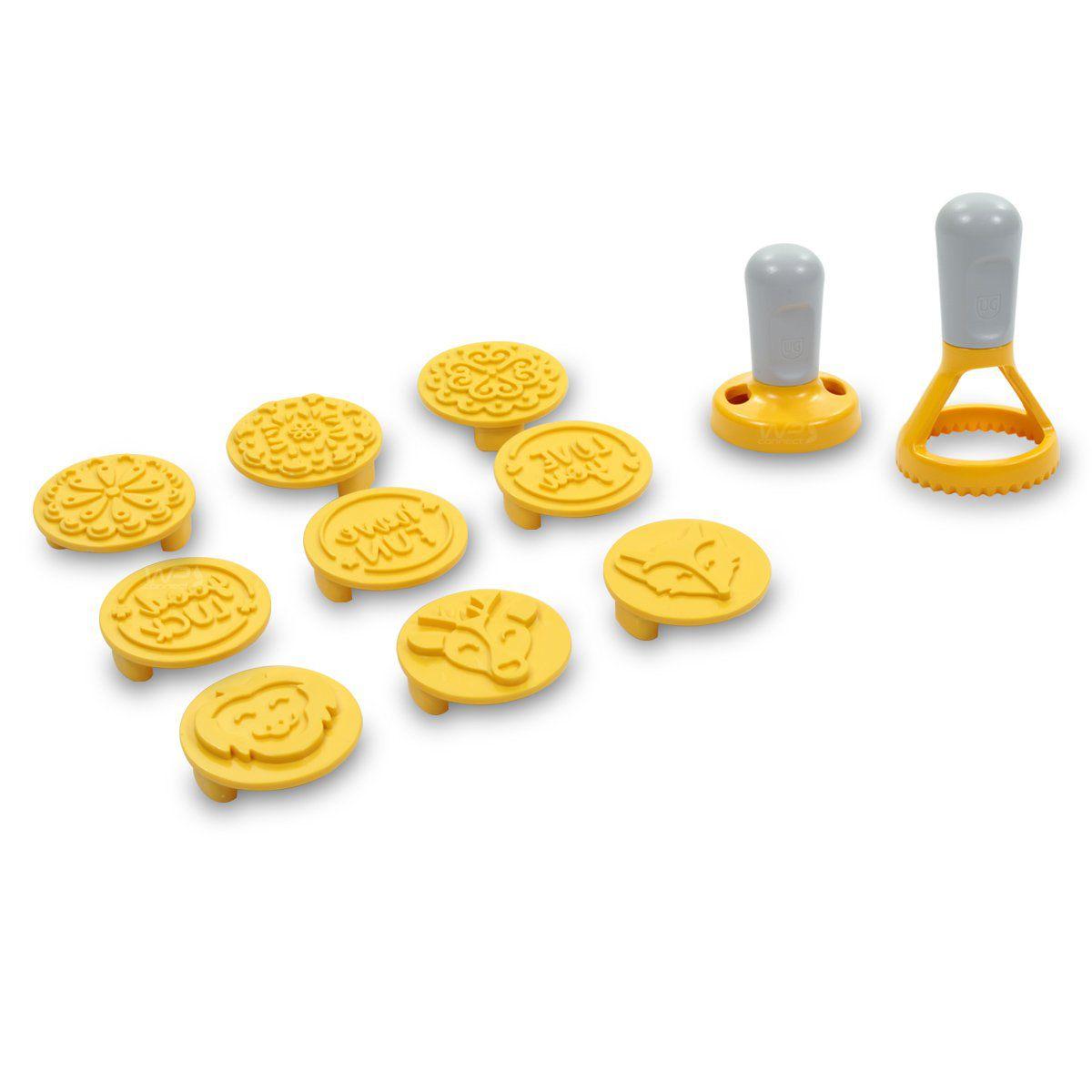 Carimbo e Cortador de Biscoitos Com Livro de Receitas - Amarelo