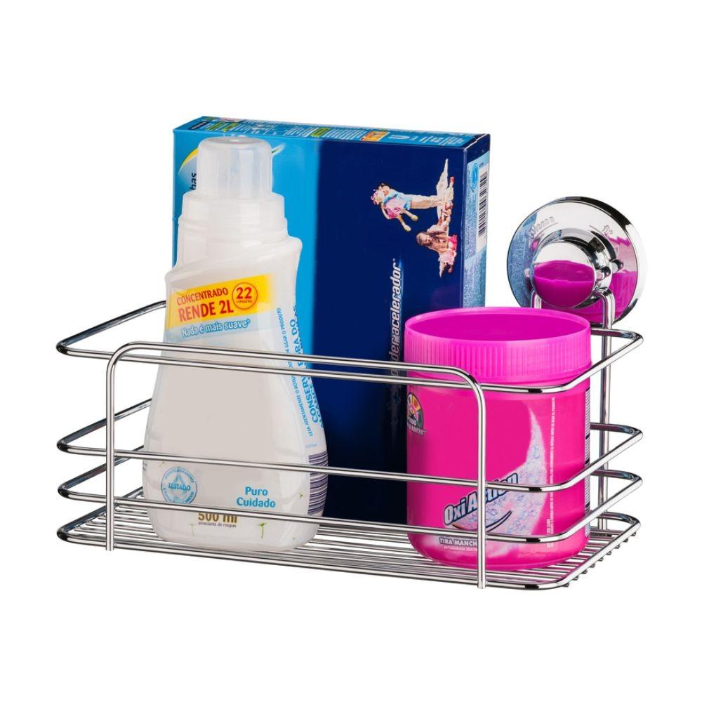 Cesto Organizador Banheiro/Cozinha Fixação Por Ventosa -Aço Cromado