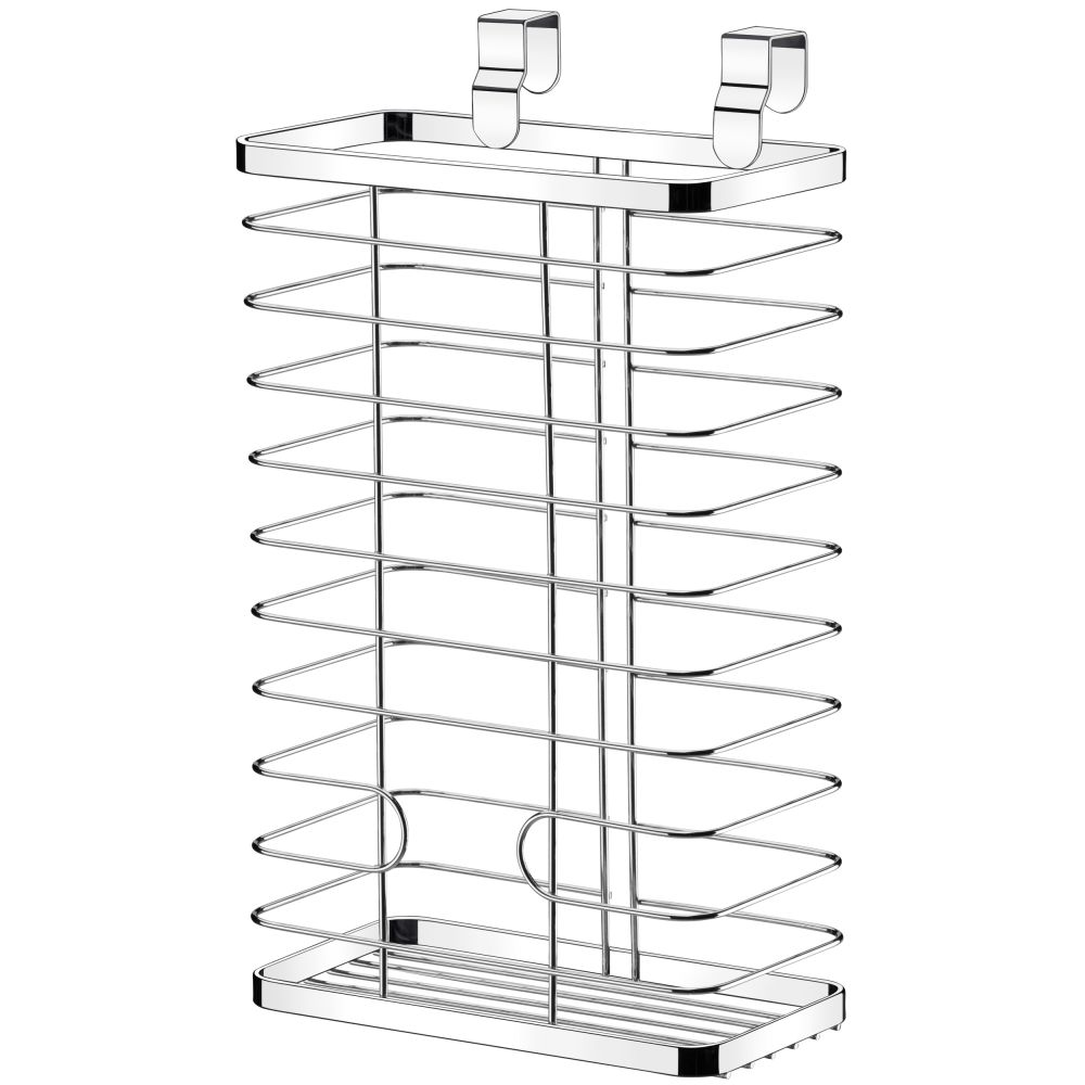 Cesto Organizador De Sacolas Plásticas Para Porta De Armário - Aço Cromado