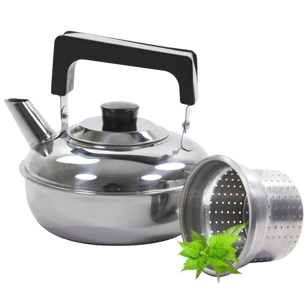 Chaleira Com Infusor Filtro Para Chá 1 Litro Aço Inox