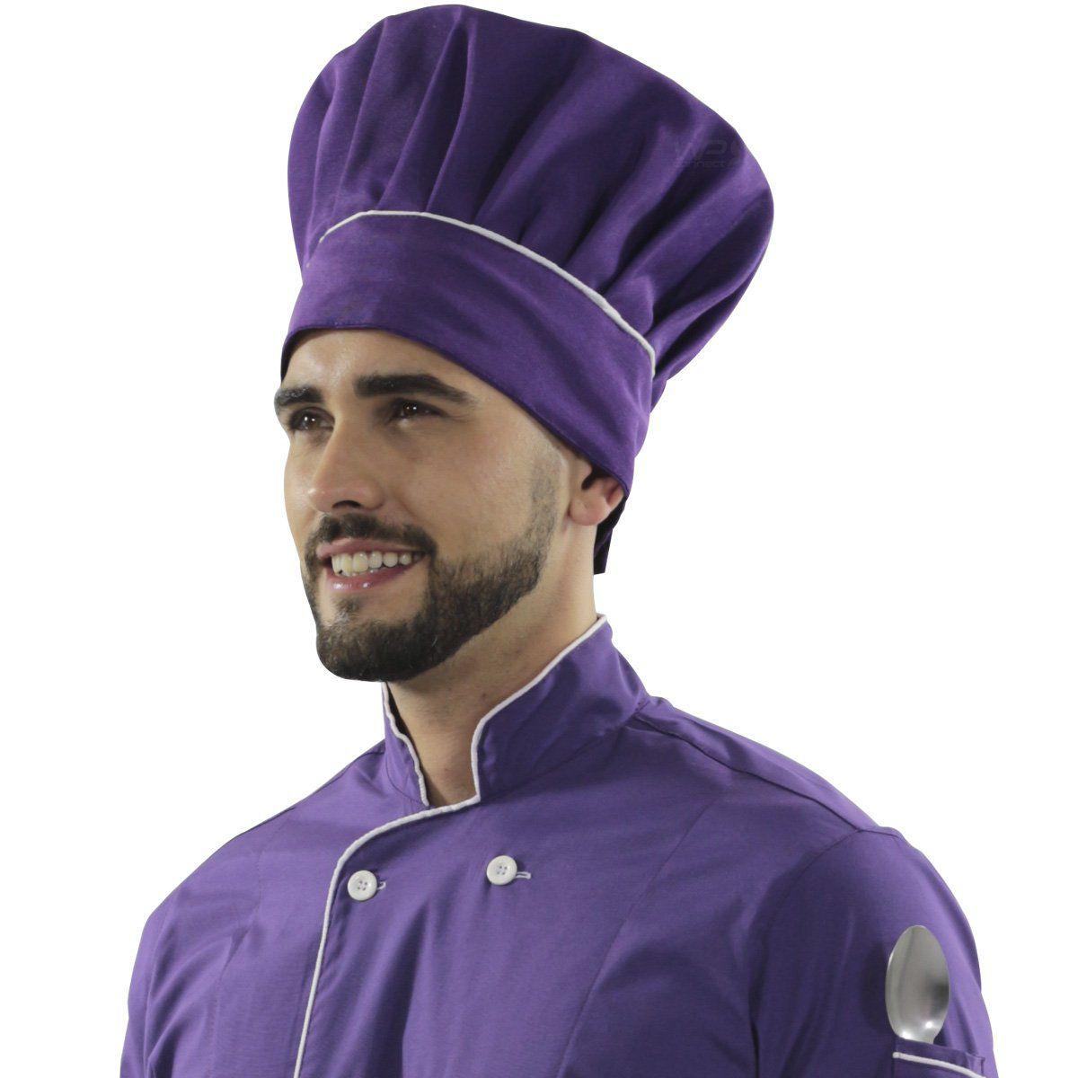 Chapéu Ajustável Confeiteira Chef Cozinha - Roxo/Branco