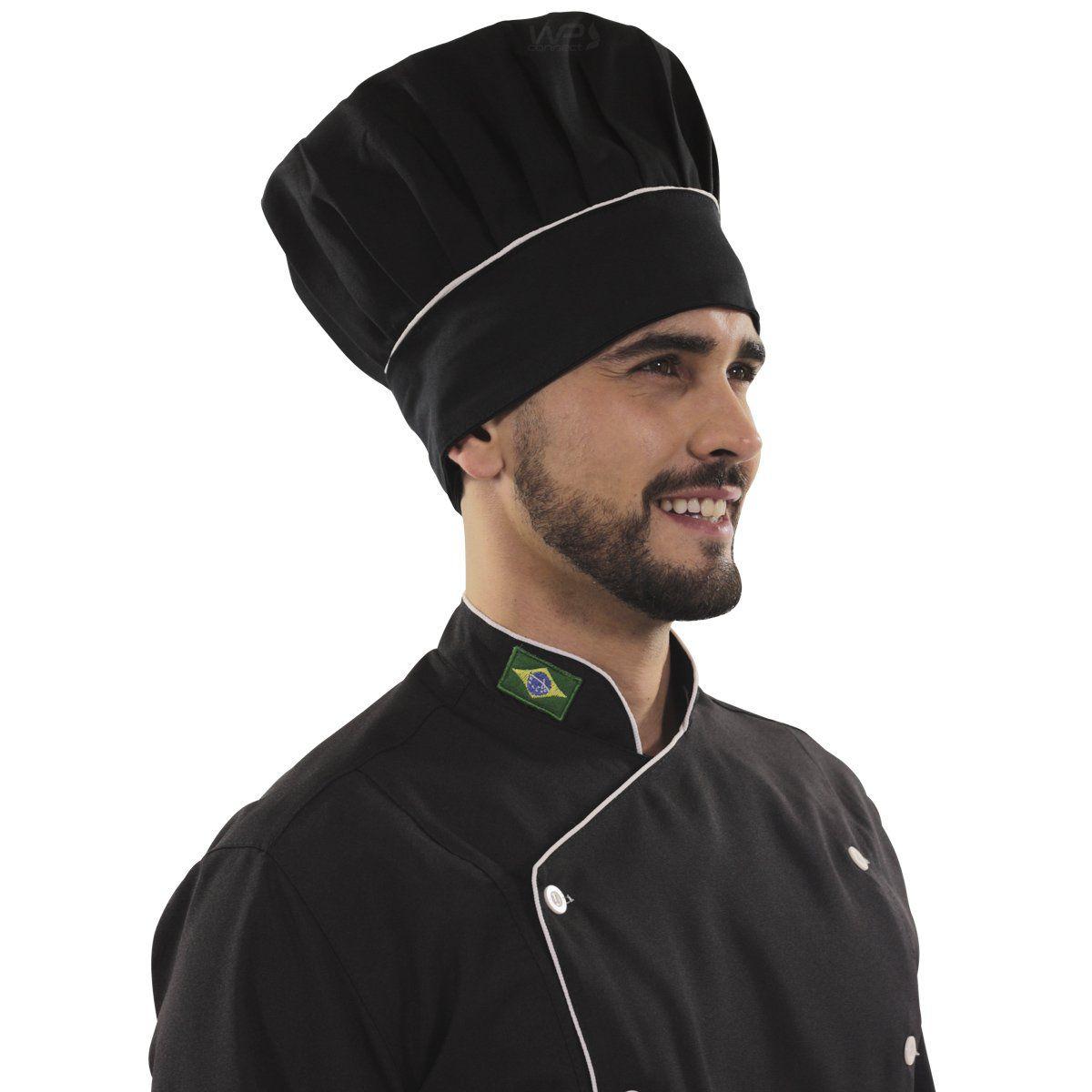Chapéu Confeiteiro Cozinha Preto Com Detalhe Listra Branca