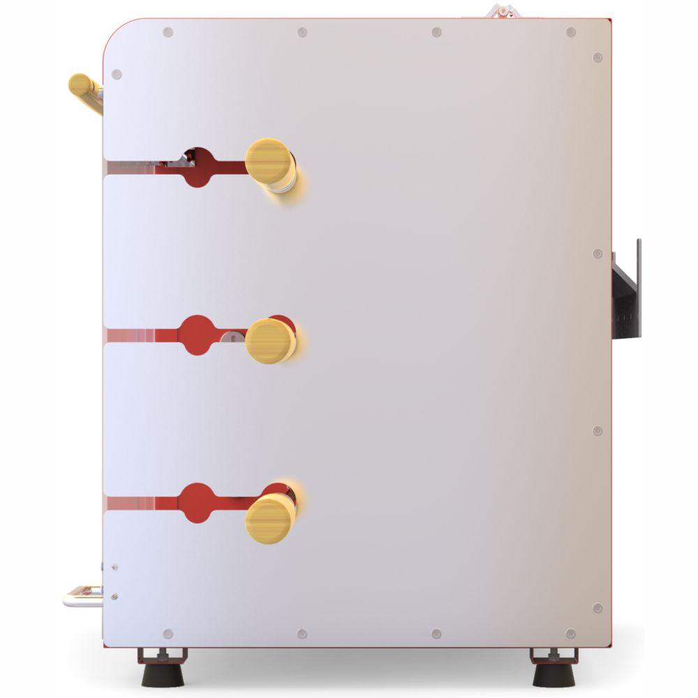 Churrasqueira Gás Rotativa 3 espetos Acendimento Automático Rechaud -Vermelha