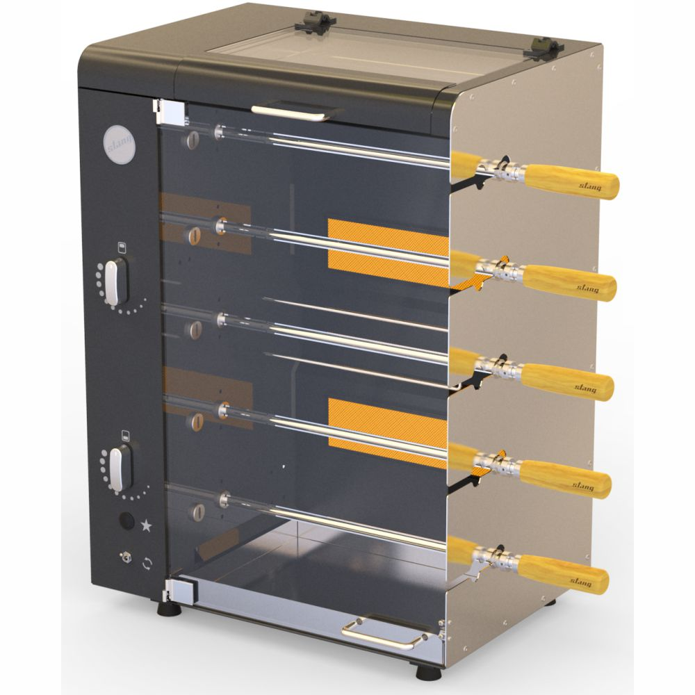Churrasqueira a Gás Rotativa com 5 espetos Acendimento Automático com Rechaud -  Preta