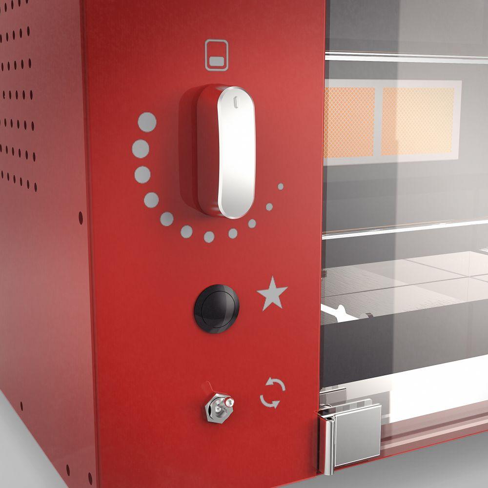 Churrasqueira a Gás Rotativa com 5 espetos Acendimento Automático com Rechaud -  Vermelha