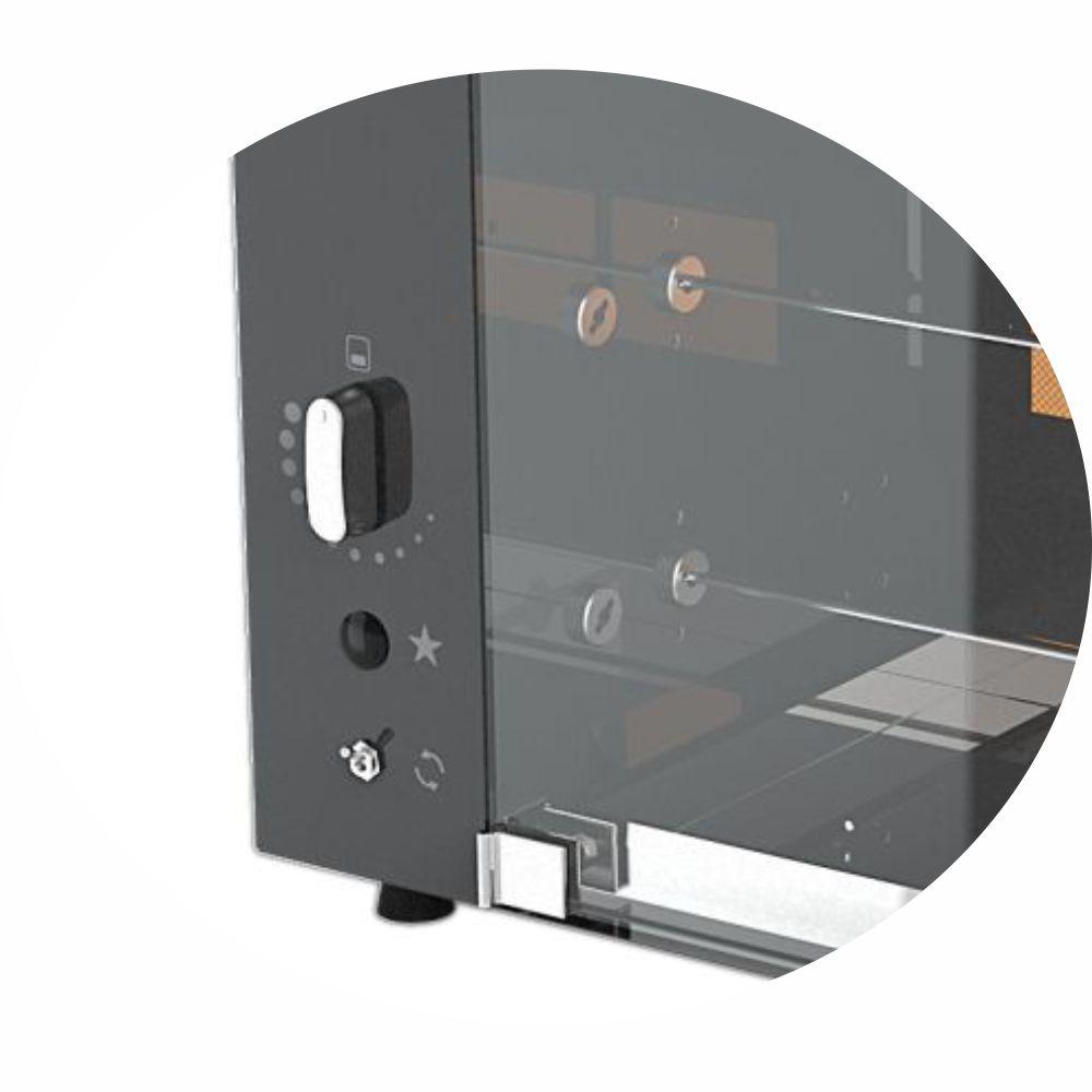 Churrasqueira a Gás Rotativa com 5 espetos Acendimento Automático -  Preta