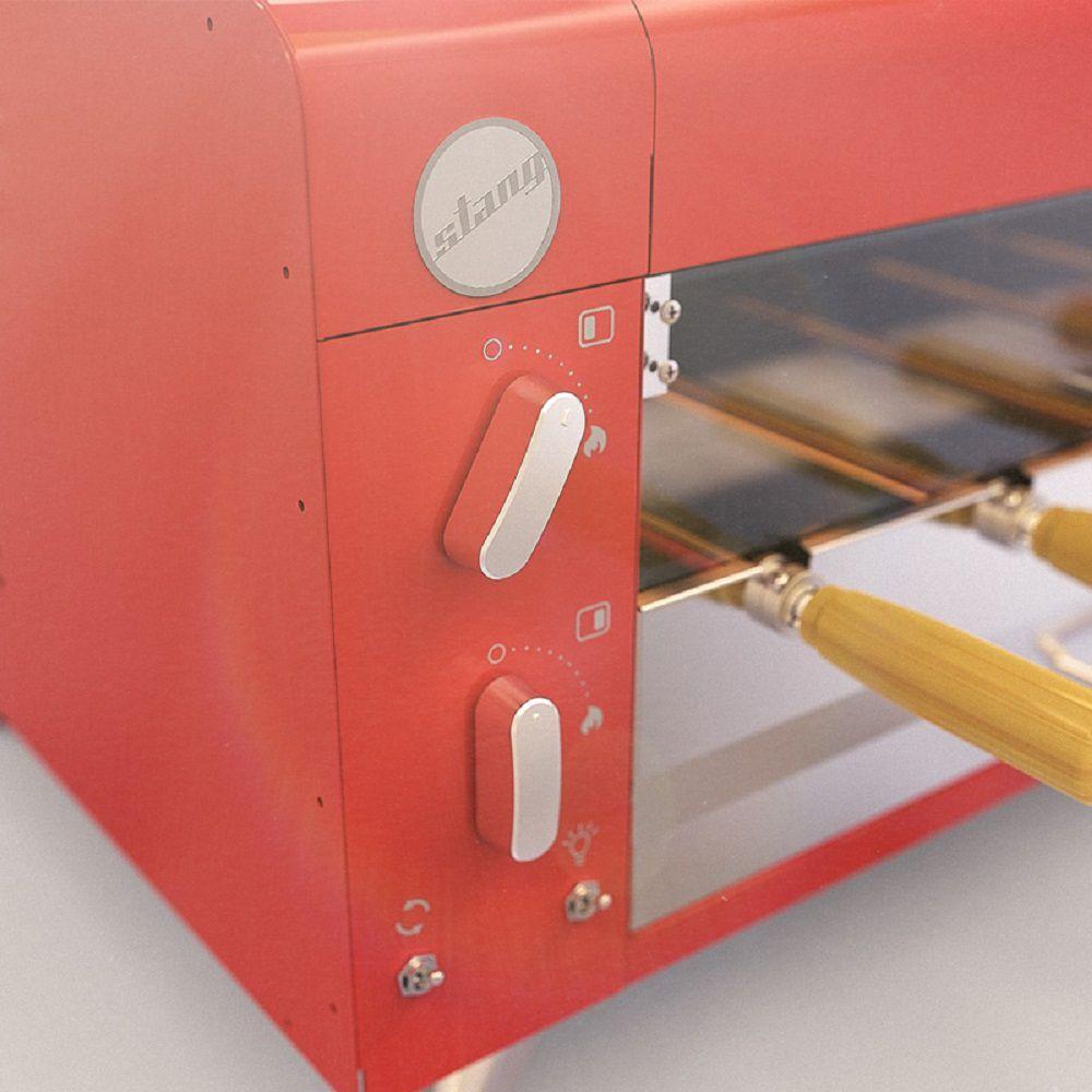 Churrasqueira Elétrica Horizontal de 5 espetos - Vermelha