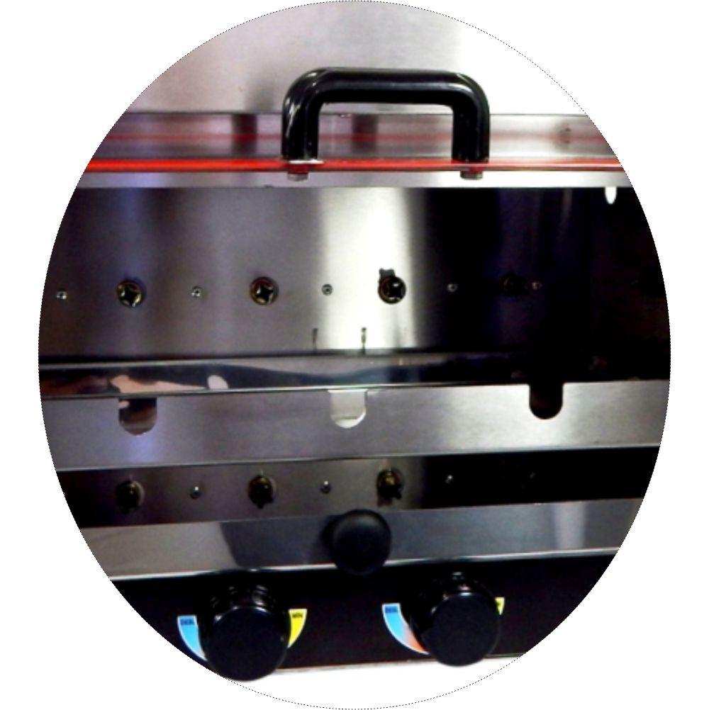 Churrasqueira Inox Rotativa Horizontal a Gás Aço Inox 5 Espetos - Bivolt
