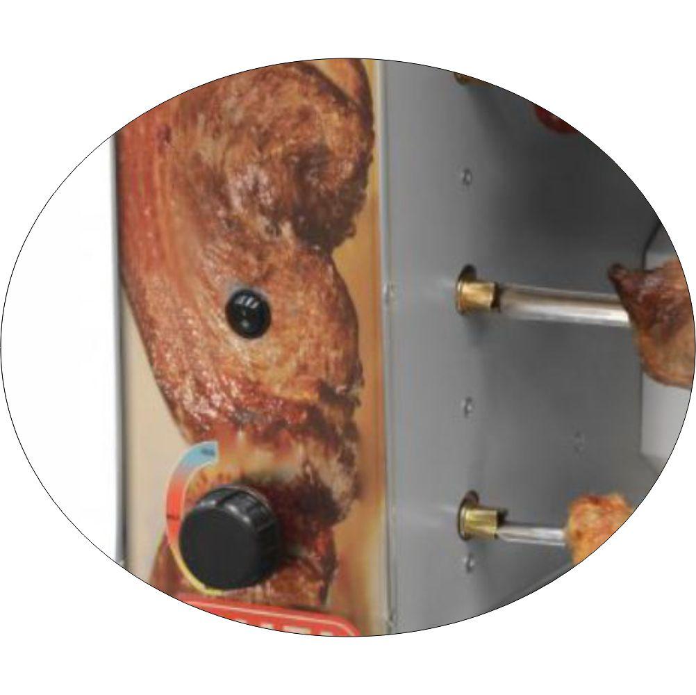Churrasqueira Rotativa Vertical á Gás Com 3 Espetos Acendimento Manual - Bivolt