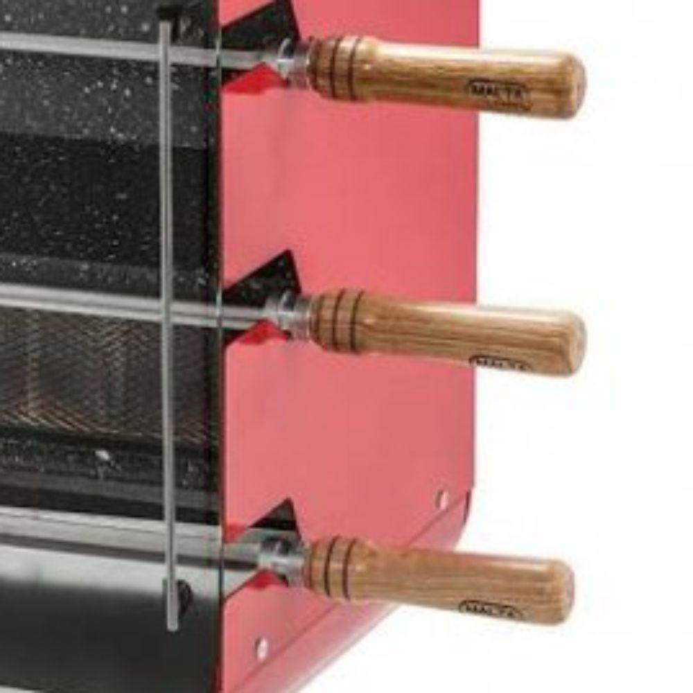 Churrasqueira Rotativa Vertical á Gás Com 3 Espetos Acendimento Elétrico Vermelha - Bivolt