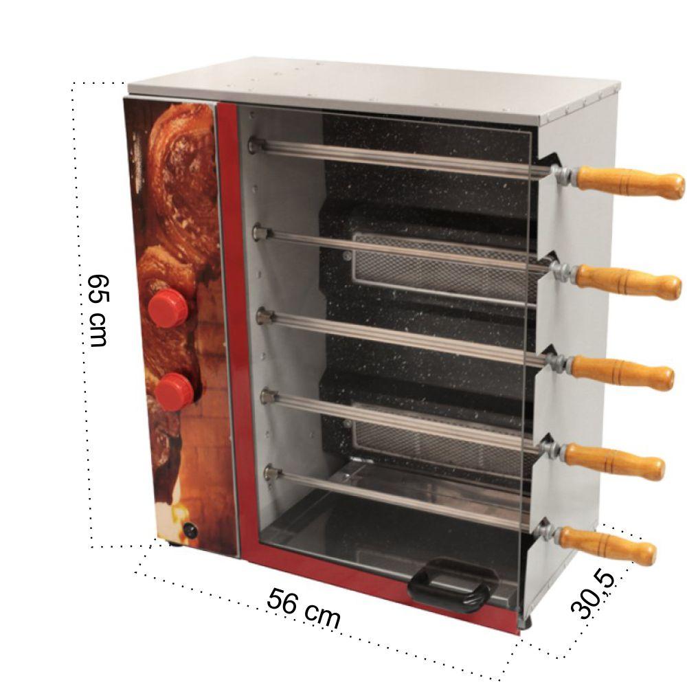 Churrasqueira Rotativa Vertical á Gás Em Aço Carbono Com 5 Espetos - Bivolt